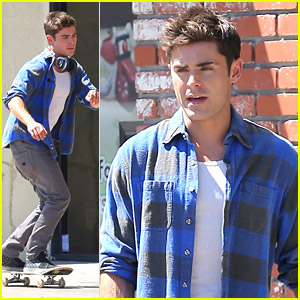 Zac Efron Skateboards His Way To 'We Are Your Friends' Set