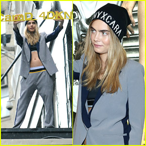 Cara Delevingne Launches DKNY Collection On Top Of Bloomingdale's Marquee!
