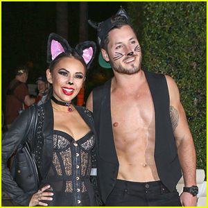 Janel Parrish & Val Chmerkovskiy Are The 'Cool Cats' For Halloween