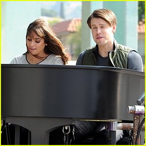 Lea Michele & Chord Overstreet Film 'Glee' Behind a Piano!