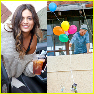 Bethany Mota & Derek Hough Sent Balloons Down From The DWTS Studio Rooftop