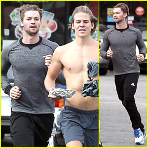 Patrick Schwarzenegger & Shirtless Friend Grab Our Attention During Their Jog