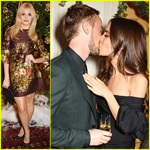 Tom Felton Kisses Jade Olivia Underneath The Mistletoe At Claridge's Christmas Tree Party
