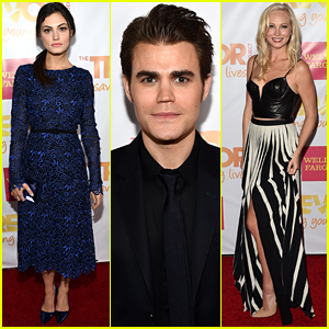 Paul Wesley & Phoebe Tonkin Meet Up with Candice Accola at TrevorLIVE LA!