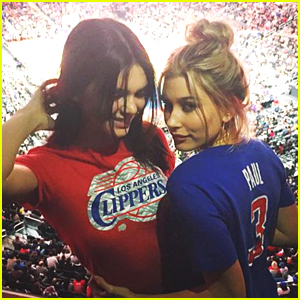 Hailey Baldwin Hits Up The Clippers Game With Kendall Jenner