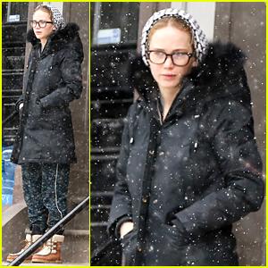 Jennifer Lawrence Sports Hipster Eyeglasses in Snowy Boston