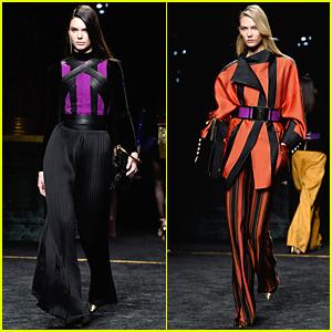 Kendall Jenner & Karlie Kloss Bring Purple to the Runway at Balmain Fashion Show