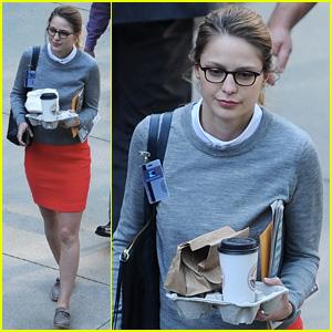 Melissa Benoist Goes Nerdy Chic for 'Super Girl' Pilot Filming