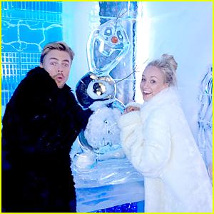 Nastia Liukin & Derek Hough Visit Olaf Ahead of DWTS Disney Week