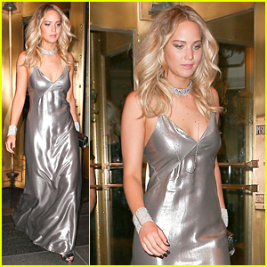 Jennifer Lawrence Rocks Silver Dress at Rihanna's Met Gala After Party