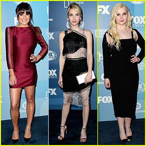 Lea Michele & Emma Roberts Doll Up For Fox Upfronts