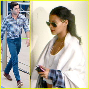 Zac Efron Relaxes With Sami Miro After Long Day Of Filming