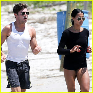 Zac Efron & Sami Miro Run the Beach Together!