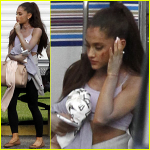 Ariana Grande Emerges With a Bloody Face on 'Scream Queens' Set