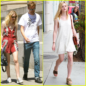 Dakota & Elle Fanning Shop It Up on Separate Coasts