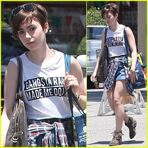 Lily Collins Rocks An Even Shorter Pixie Cut