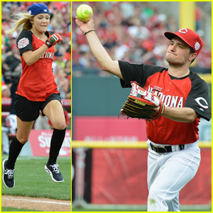 Olivia Holt & Josh Hutcherson Play in MLB All-Star Celebrity Softball Game!