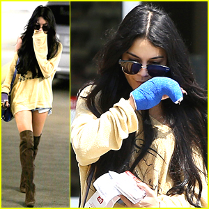 Vanessa Hudgens Gets Her Cast Rewrapped In Blue