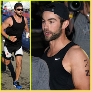 Chace Crawford Sweats it Out While Running Malibu Triathlon