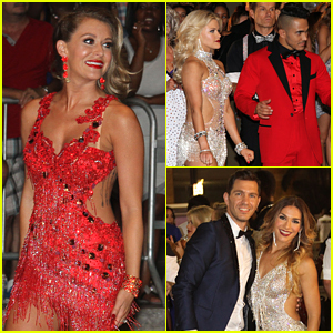 Carlos & Alexa PenaVega Stand Out In Red During 'DWTS' Flash Mob Opening Number Filming - See All The Pics!