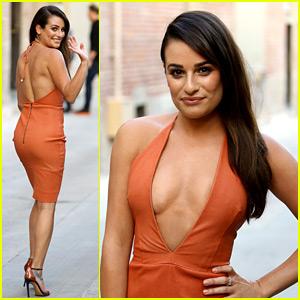 Lea Michele Shows Lots of Skin in Low-Cut Dress for 'Kimmel'