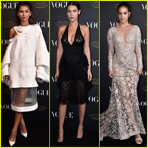 Zendaya Gets In A Supermodel Sandwich At Vogue's