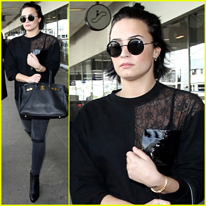 Demi Lovato Returns To LA After Performing at Hillary Clinton's Rally in Iowa