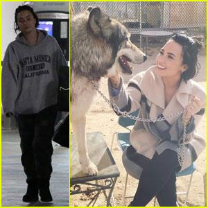 Demi Lovato Celebrates Wilmer Valderrama's Birthday at a Wolf Sanctuary!