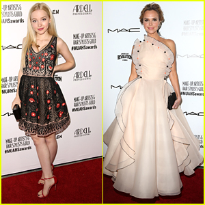 Dove Cameron Meets Johnny Depp at Make-Up Artists and Hair Stylists Guild Awards 2016