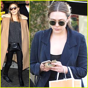 Elizabeth Olsen Stops by Kate Somerville After Returning From Milan Fashion Week