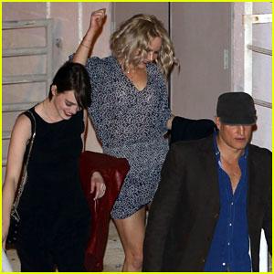 Jennifer Lawrence & Emma Stone Buddy Up at Adele's Surprise Concert