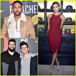Tahj Mowry Hits Pre-Superbowl 50 Parties with Hayes Grier & Hailey Baldwin