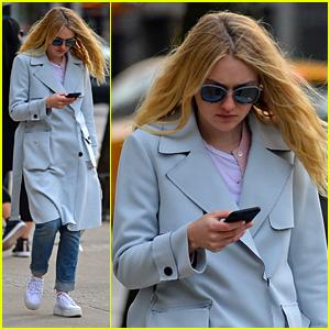 Dakota Fanning Bundles Up in Powder Blue for City Stroll