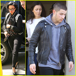 Demi Lovato & Nick Jonas Leave Studio Together Before Tour Kickoff