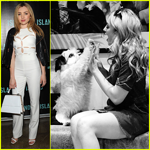 Peyton List Plays Patty Cake With Rufio The Pup