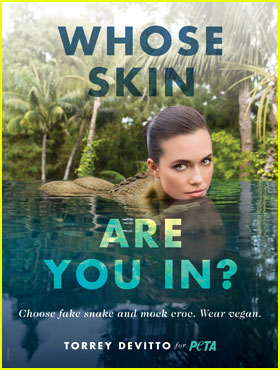 Torrey DeVitto Channels a Crocodile in New PETA Campaign