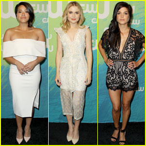 Gina Rodriguez Steps Out at CW Upfronts 2016 With Rose McIver & Marie Avgeropoulos