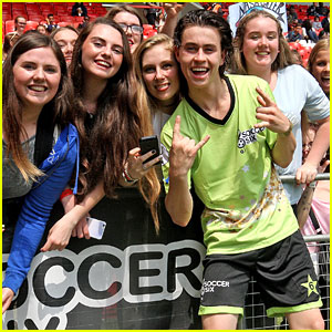 Nash Grier Gets Kisses From Fans After Playing in Celeb Soccer Game