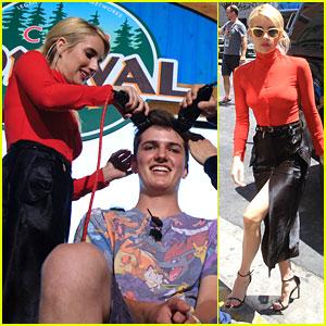 Emma Roberts Gives YouTuber Shane Waxler A Buzz Cut at at Comic-Con 2016