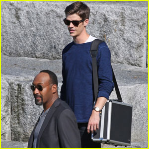 Grant Gustin Hangs With His Pup Jett on 'The Flash' Set