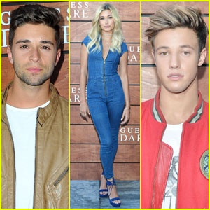 Jake Miller & Hailey Baldwin Hang With Cameron Dallas at 'Guess' Fragrance Launch