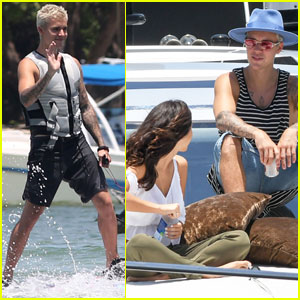 Justin Bieber & Mystery Girl Enjoy Time on His Yacht