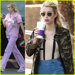 Emma Roberts Rocks Pink Scrubs For 'Scream Queens' Filming