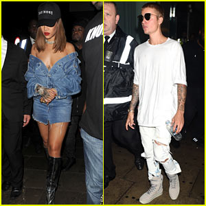 Justin Bieber & Rihanna Party it Up at a Club in London!