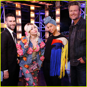 Miley Cyrus Sings with 'The Voice' Coaches - Watch Now!