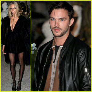 Cara Delevingne & Nicholas Hoult Step Out for 'Burberry' London Fashion Show