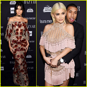 Kylie Jenner & Tyga Couple Up at Harper's Bazaar Party with Kendall & Friends!