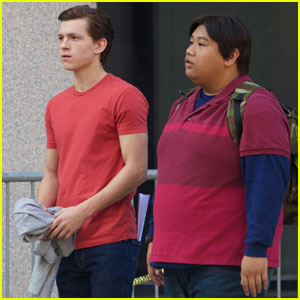 Tom Holland Chats Up 'Spider-Man' Co-Star Jacob Batalon on Set