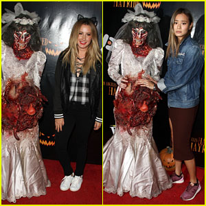 Ashley Tisdale Gets in Halloween Spirit at Haunted Hayride!