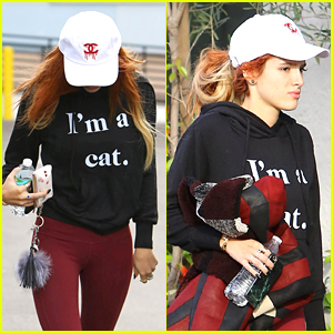 Bella Thorne Wears Cute Cat Sweater For Pilates Class